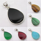 925 Solid Silver DROP FLAT Gemstones Collectible Pendant ! Discount Jewelry