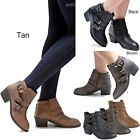 New Women FEu4 Black Tan Brown Western Ankle Booties Riding Low Heel Boots 5-10