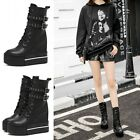 New Womens Platform Shoes Lace Up High Heels Western Booties Combat Ankle Boots