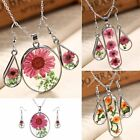 Fashion Real Dried Flower Glass Drop Necklace Earrings Jewelry Set Women Gift