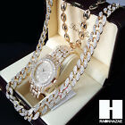 New Iced Out Gold Plated Simulated Diamonds Pave Watch Gucci Cuban Chain CW17