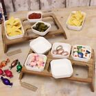 Ceramic Serving Dish Set with Acacia Wood Stand Snacks Party Celebrations