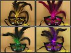 Set of 5 FANCY Mardi Gras Feathered Plastic GLITTER MASK CHOOSE COLOR