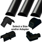 16mm x 8mm Black Round D Trunking & Adapters–ADHESIVE BACKED–Cable Conduit Tube
