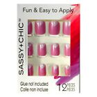 SASSY+CHIC*(1) 12pc Fashion Nails FUN+EASY Glue-On *YOU CHOOSE* Various/Short 1c