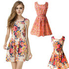 2017 Boho Women Dress Beach Summer Women Floral Print Short Mini Dress Hot