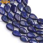 "Dyed Flat Drop Lapis Lazuli Stone Loose Bead Jewelry Making Strand 15"" Wholesale"