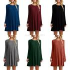 USA Women Casual Round Neck Plain Long Sleeve Tunic T-Shirt Loose Dress Tops