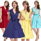 Vintage 50's Style Housewife Retro Swing Pinup V-Neck Party Dress Elegant
