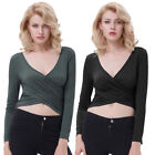 KK Women Long Sleeve Deep V-Neck Cross Wrap Cropped Stretchy Tops Party Clubwear