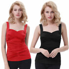 BP Solid Color Sleeveless Sweetheart Twisted bust Classic Pinup Tank Vest Tops