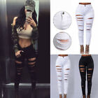 Women Ladies Fit Stretch Ripped Skinny Pencil High Waisted Denim Pants Jeans US