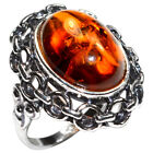 6.9g Authentic Baltic Amber 925 Sterling Silver Ring Jewelry N-A7214