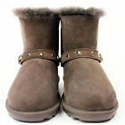 Kids Chocolate Sheepskin Slip On Boots Girls Shearling Fur Lined Buckle Boot