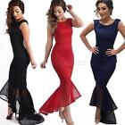 Women Sleeveless Maxi Dress Slim Bodycon Cocktail Party Evening Wedding Gown US