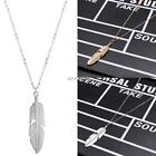 Women Jewelry Feather Pendant Chain Necklace Long Sweater Chain K0E1 01
