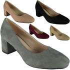 New Womens Ladies Faux Suede Low Chunky Heel Office Work Casual Court Shoes Size