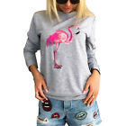 Creative Flamingo Print Long Sleeve Pullover Sweatshirt Casual Top Novelty