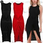 Womens Front Knot Wrap Over Twisted Draped Ruched Bodycon Fit Ladies Midi Dress