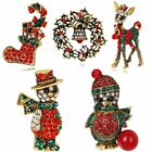New Cartoon Womens Crystal Enamel Christmas Brooch Pins Holiday Gifts Jewellery