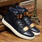 Fashion Men's Leather Flats High Top Metal Buckle Zipper Lace Up Casual Shoes