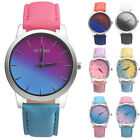 Fashion Ladies Women Rainbow Leather Band Ladies Analog Quartz Wrist Watch Gfit
