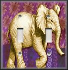 Metal Light Switch Plate Cover - India Elephant Indian Elephant Purple Gold Pink