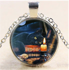 Cat Art Photo Cabochon Glass Chain Pendant Necklace,Love Cat Jewelry Gift