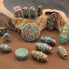 Charms Turquoise Tibetan Nepalese Brass Beads Lapis Tribal Boho Spacer Beads New