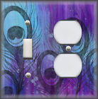 Metal Art Light Switch Plate Cover - Peacock Feather Art Home Decor Blue Purple