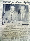 1953 newspaper STAN MUSIAL SIGNS w St Louis Cardinals $80,000 / yr- Highest Paid