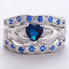 Silver Plated Sapphire Cletic Irish Claddagh Ring Wedding Set Promise Ring JYL