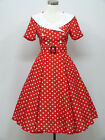 dress190 Red & White Polka Dot 50s Rockabilly Party Vintage Cocktail Dress 8-24