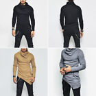 New Fashion Men's Solid Color Long Sleeve Autumn Tops Sweater Tee Shirt M-4XL AA