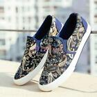 New Flat Floral Espadrille Men's Canvas Round Toe Sneakers Slip On Loafers Shoes