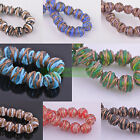 5pcs 14mm-16mm Round Striped Lampwork Glass Loose Spacer Beads Jewerly Making