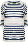 YoursClothing Plus Size Womens Ladies Shirt Cream Oatmeal Stripe Long Sleeve