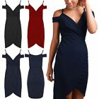 Womens Ladies Asymmetric Wrap Over Cold Cut Shoulder Strappy Bodycon Midi Dress