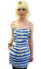 SALE! NEW 'ANCHOR' SUPREMEBEING RETRO 70S ROLLER STRIPE DRESS IN BLUE/WHITE K35