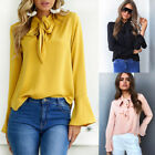Fashion Womens Pussy-bow Shirt Blouse Business Top  Sleeve  T shirts Tops 32