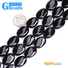 Natural Black Agate Gemstone Twist Oval Beads For Jewelry Making Free Shipping