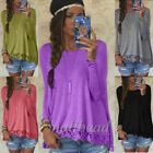 Women's Long Sleeve Casual Lace Floral Blouse Loose Stretch Tops T-Shirt Fashion