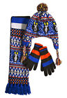 Boys Hat Scarf Gloves New Kids Fair Isle Blue Winter Tassel Set Ages 4 - 6 Years