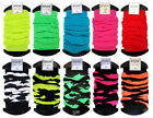 Ladies Neon Leg Warmers 3 Pair Pack Stretchy Solid and Stripe Designs One Size