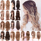 Full Wig Long Curly Straight Synthetic Hair With Blonde Wigs For Women Ladies m7