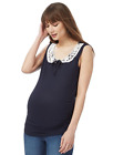 REDHERRING MATERNITY LACE COLLAR TOP Size 12 - 20 ~BNWT~ NAVY & WHITE £22