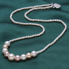 AAA 12-14mm & 3-4mm White, pink, purple natural freshwater pearl necklace