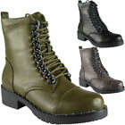 Womens Ladies Lace Up Chain Low Heel Army Biker Combat Ankle Boots Shoes Size