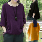 ZANZEA AU 8-24 Women Summer Cotton Linen Top Shirt Basic Tee Plus Size Blouse