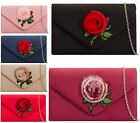 WOMENS LADIES FAUX SUEDE EMBROIDERY POM POM FLOWER ENVELOPE EVENING CLUTCH BAG